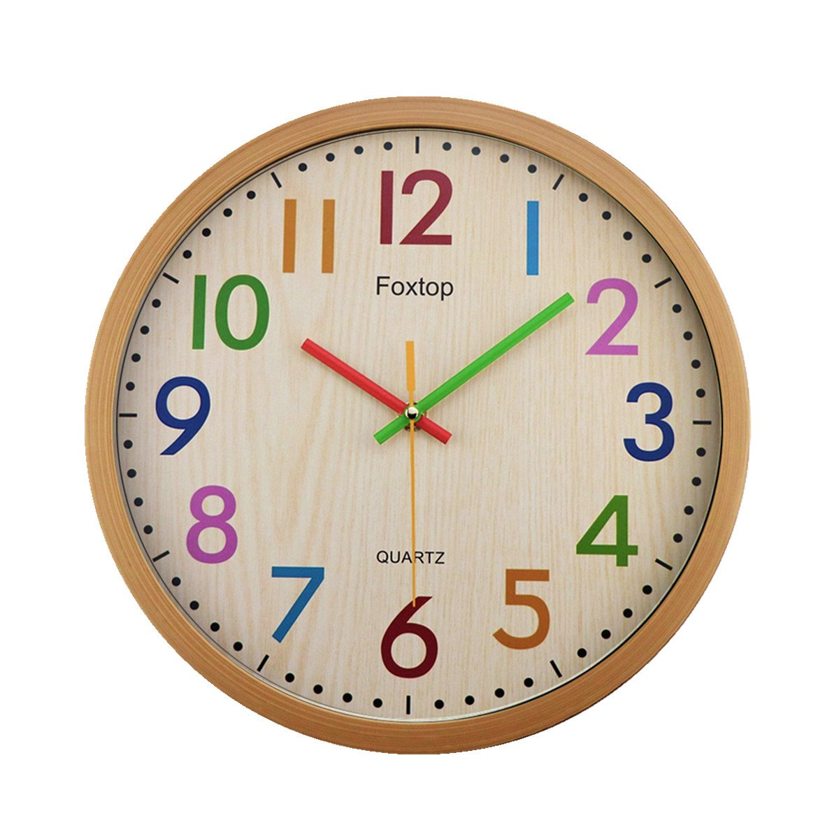 Foxtop Silent Wall Clock, 12.5 Inch Modern Stylish Colorful Non Ticking Wall Clock with Sweep Movement for Bedroom Kitchen Living Room Gifts FT125C