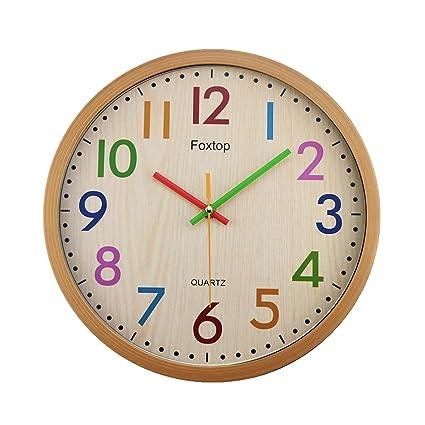 Foxtop Grande Nostalgie Reloj de Pared Silencioso de Colores Para la Decoración del Hogar, 32