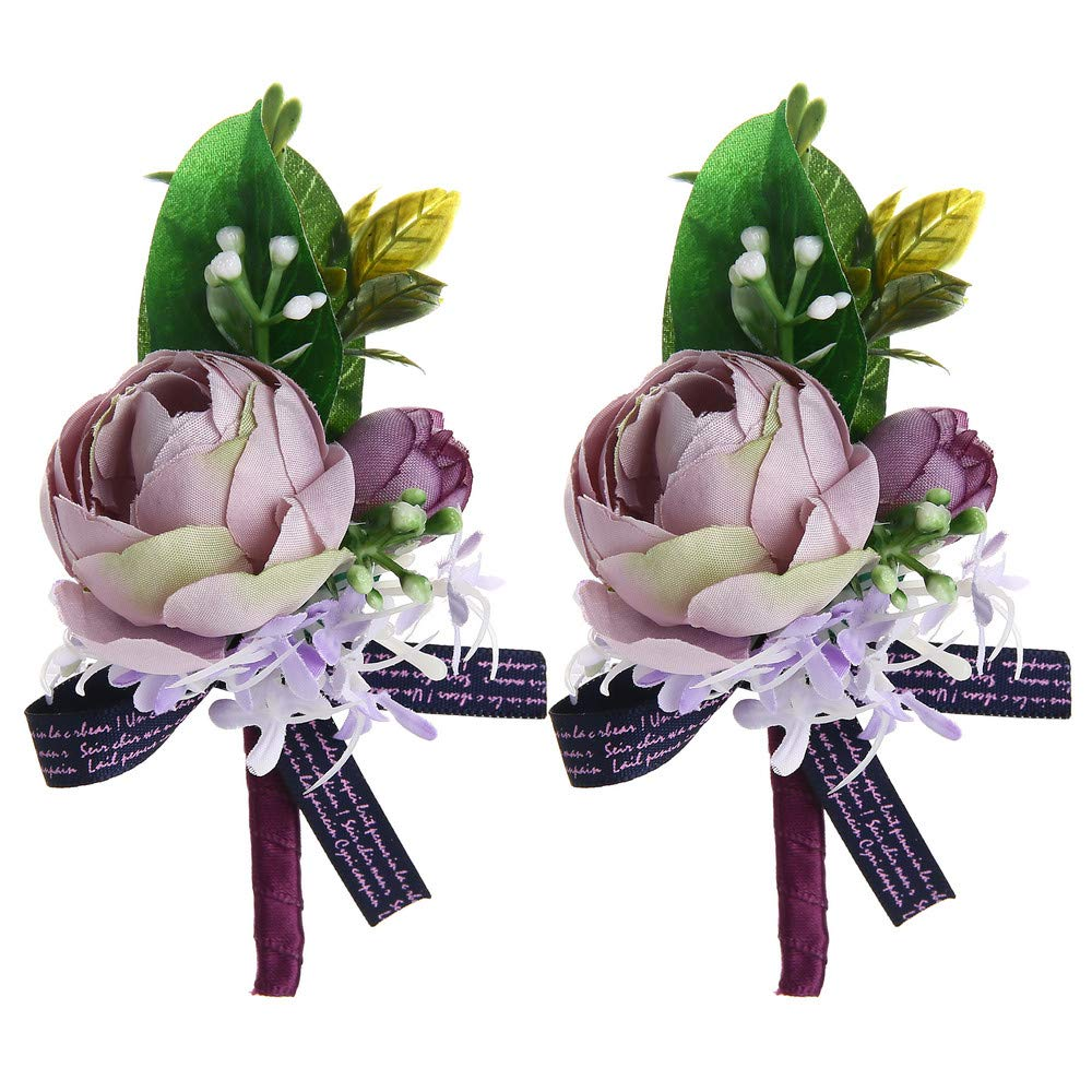 f6f052865 Febou Boutonniere Pack of 2 Wedding Boutonniere for Groom Bridegroom  Groomsman Perfect for Wedding, Prom, ...