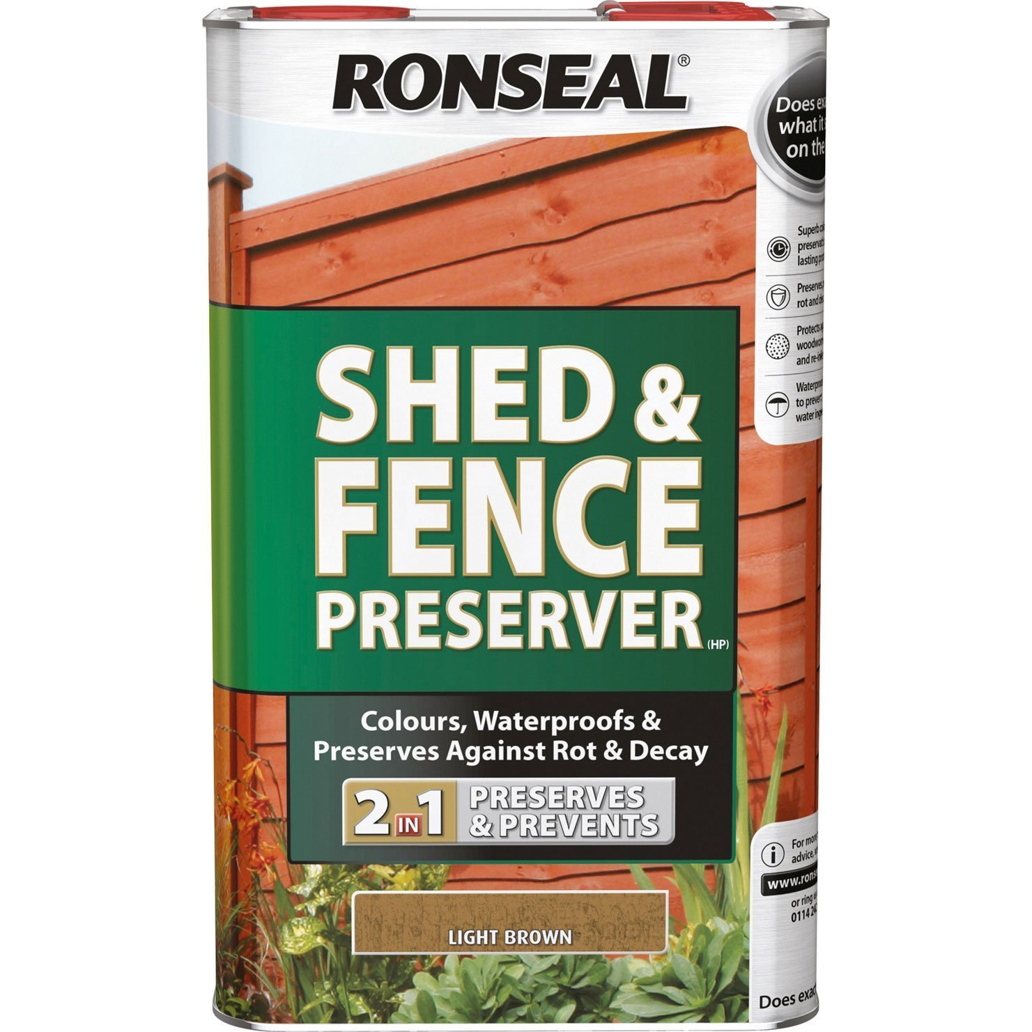 Ronseal RSLSFG5L 5 Litre Shed and Fence Preserver - Green
