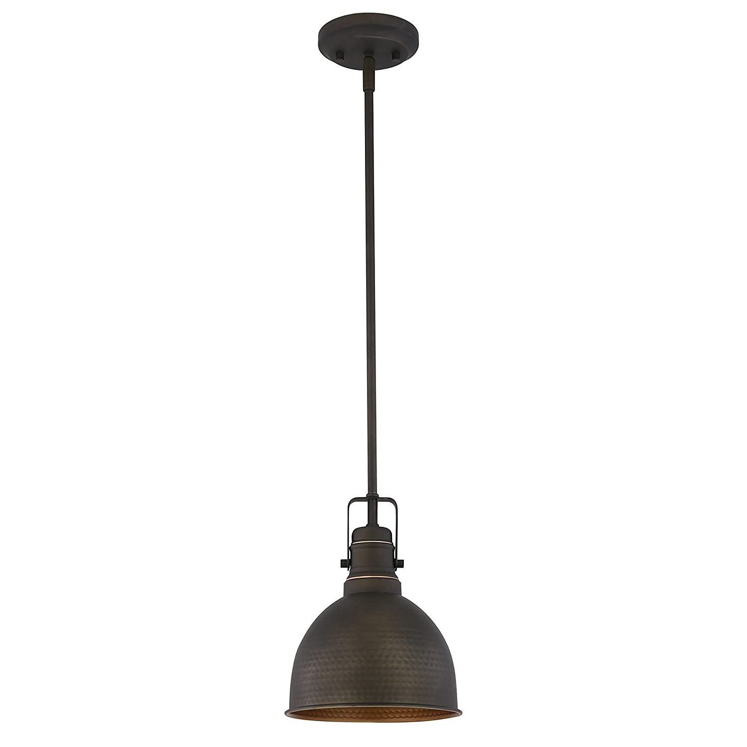 Light Society Hampshire Farmhouse Pendant Lamp, Hammered Oil Rubbed Bronze with Gold Interior, Vintage Industrial Modern Lighting Fixture LS-C248-ORB