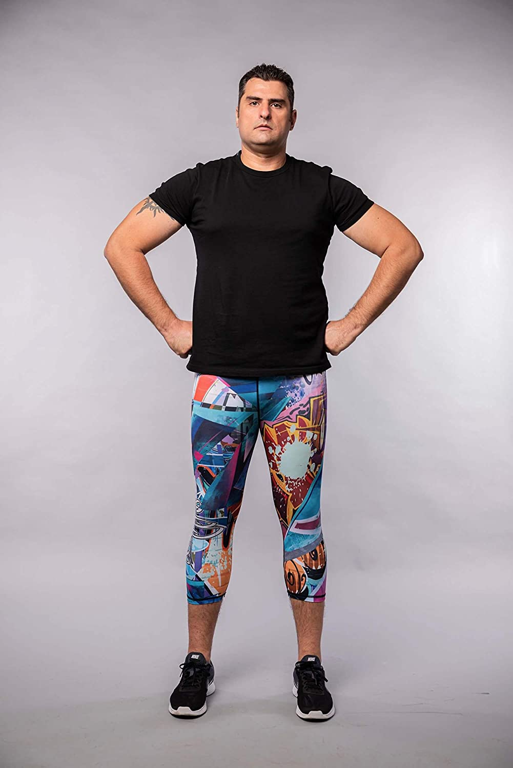 Compression Tights Kapow Mens 3//4 Performance Leggings with Pockets Yoga Workouts Running Gym Colorful Sports Base Layer