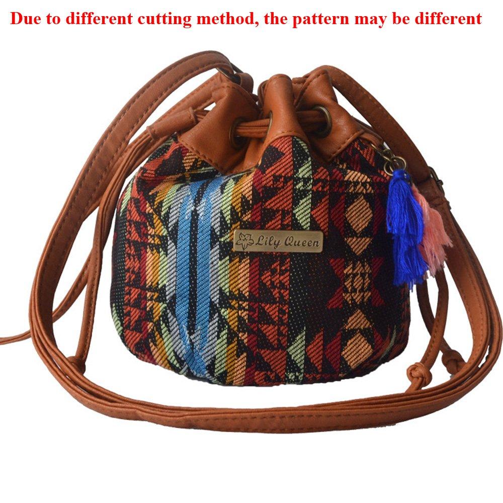 Catkit Vintage Womens Ethnic Style Bucket Tassels Drawstring Tote Handbag Shoulder Bag