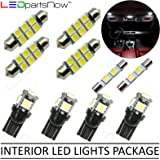 LEDpartsNow Interior LED Lights Replacement for 2007-2014 Ford Edge Accessories Package Kit (10