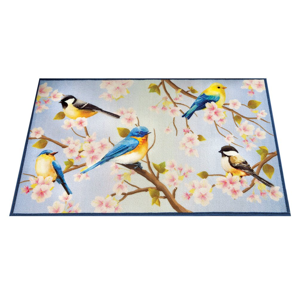 Collections Etc Songbirds & Magnolia Flowers Branches Decorative Floral Accent Rug Winston Brands