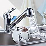 Auralum® Verchromt Hochdruck Küchenarmatur Spültischarmatur mit Ausziehbare Geschirrbrause Einhebel Küche Armatur Wasserhahn aus Messing