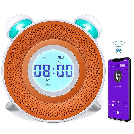Danolt - Reloj Despertador para niños, Cargador USB, Reloj Despertador Inteligente para Dormitorio, 7 Colores, luz Nocturna con Altavoz Bluetooth, ...