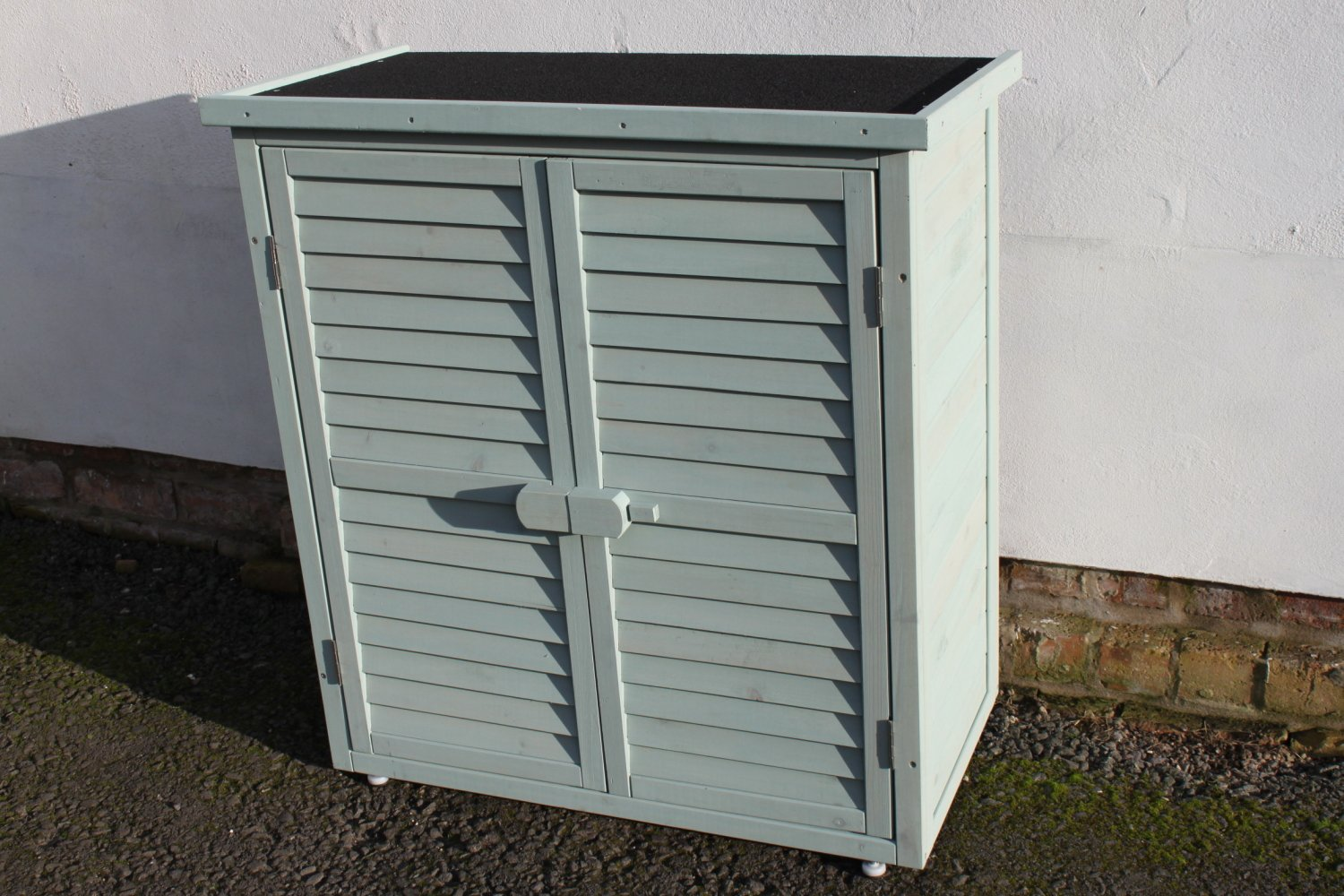 Outdoor Garden Wooden Storage Cabinet or Tool Shed In Blue/Green