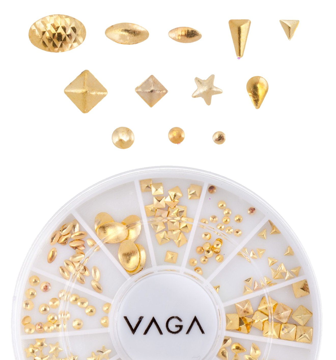 Professional High Quality Manicure And Nail Art 3D Decorations Wheel With Golden Nailart Metal Studs In 12 Different Hollowed Shapes By VAGA