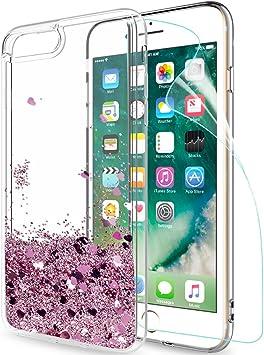 LeYi Funda Apple Iphone 7 Plus / Iphone 8 Plus Silicona Purpurina Carcasa con HD Protectores de Pantalla,Transparente Cristal Bumper Telefono Fundas Case Cover Para Movil Iphone 7 / 8 Plus Oro Rosa: Amazon.es: Electrónica