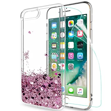 LeYi Funda Apple Iphone 7 Plus / Iphone 8 Plus Silicona Purpurina Carcasa con HD Protectores de Pantalla,Transparente Cristal Bumper Telefono Fundas ...
