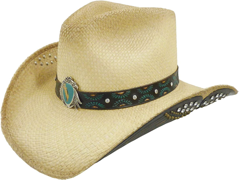 Westernhut Sommerhut aus Canvas Sonnenhut Cowboyhut f/ür Damen Westernwear-Shop Damen Strohhut Victoria