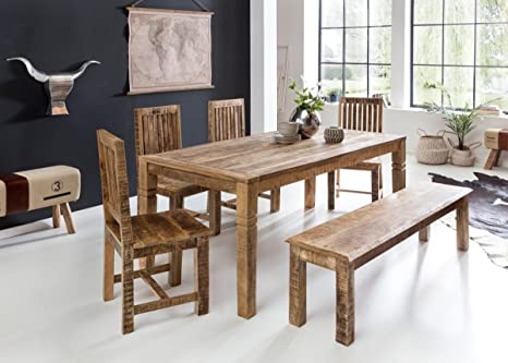 Wohnling Mesa de Comedor diseño en Madera de Mango Rustica 180 x 90 ...