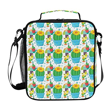a512fac2124c Amazon.com: Square Insulated Cactus Blossom Yellow Lunch Tote Bag ...