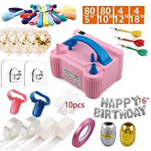 Electric Balloon Air Pump Blower, Portable Dual Nozzles Balloon Inflator with 168 PCS Balloons, Balloon Tying Tools, Balloon Flower Clips, Balloon Garland Strips, Colored Ribbon, Balloon Dot Glues for Party Decoration