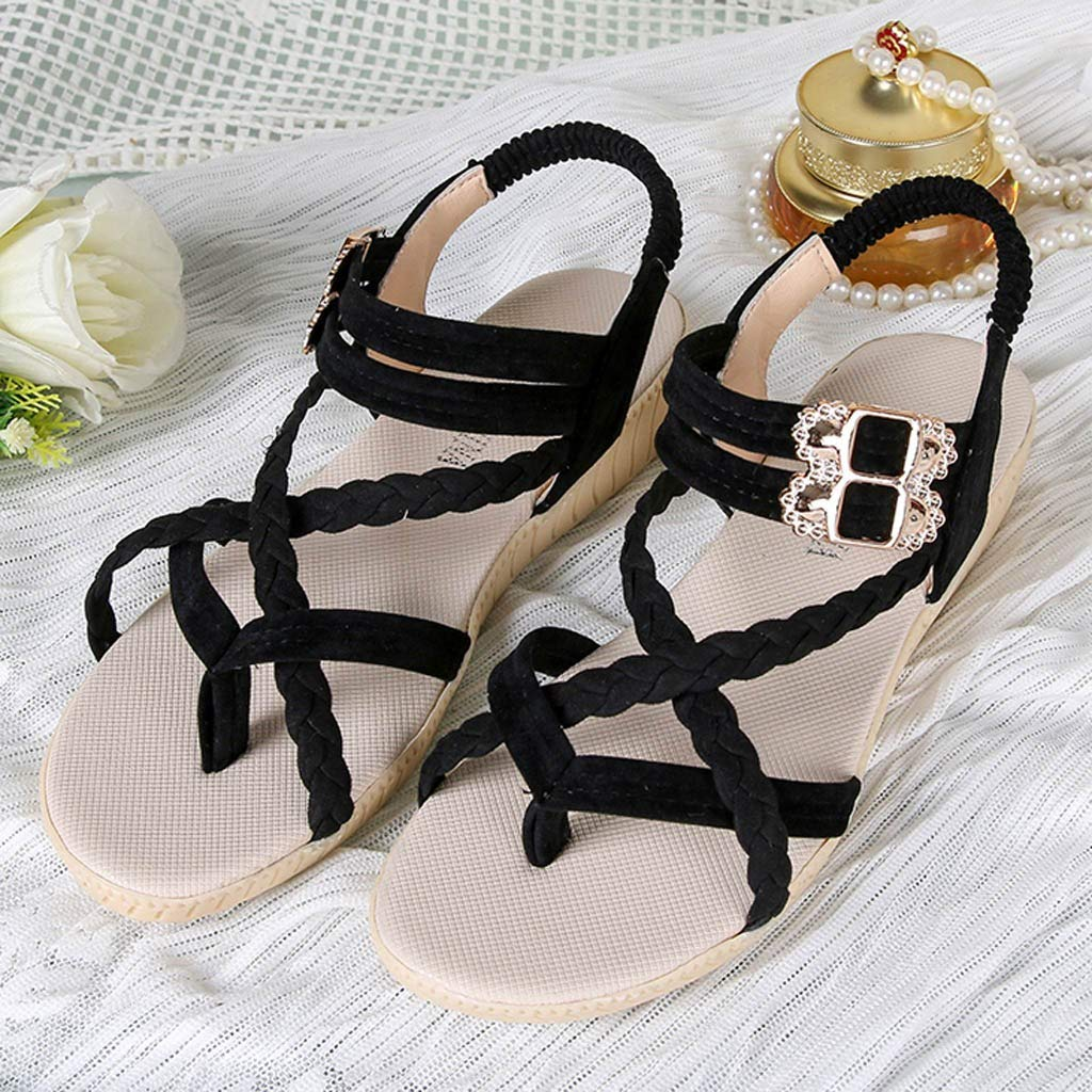 HHei_K Women Summer Pure Color Simple Flat Buckle Strap Rome Shoes Elastic Band Open Toe Students Casual Beach Sandals Black by HHei_K (Image #5)