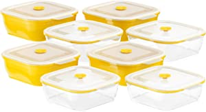 Collapse-it Silicone Food Storage Containers - BPA Free Airtight Silicone Lids, 8 Piece Variety Set of 2-Cup Collapsible Lunch Box Containers - Oven, Microwave, Freezer Safe with Bonus eBook