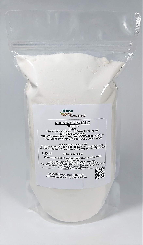 Fertilizante Nitrato potásico 13-00-46. 5 Kilos. Muy Utilizado para la maduración en frutales, Huerta y Cualquier Cultivo Donde la generación de azucares se indispensable.