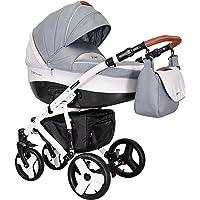 """Coletto Passeggino combinato """"Florino Carbon"""" 3in 1con pneumatici (con navicella, seduta sportiva & porta bebè)"""