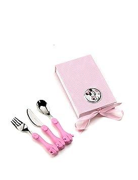 CUBIERTOS para BEBE con estuche con aplique de Plata bilaminada de MINNIE. Color rosa.: Amazon.es: Bebé