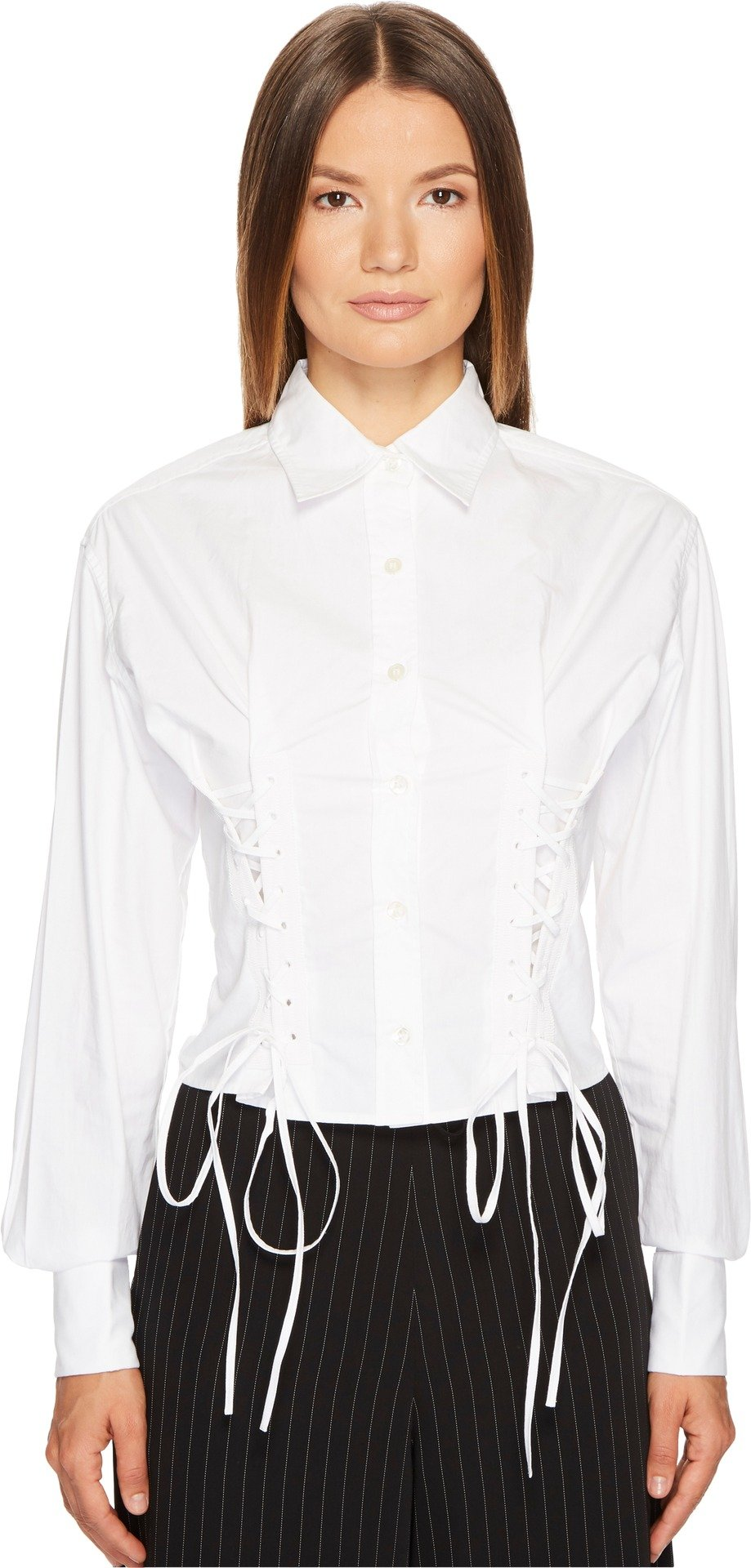 McQ Women's Short Corset Cotton Lacing Shirt Optic White 36