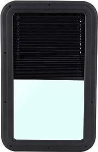 RecPro RV Entry Door Window with Internal Shades   Black Frame   RV Parts   Camper   Trailer