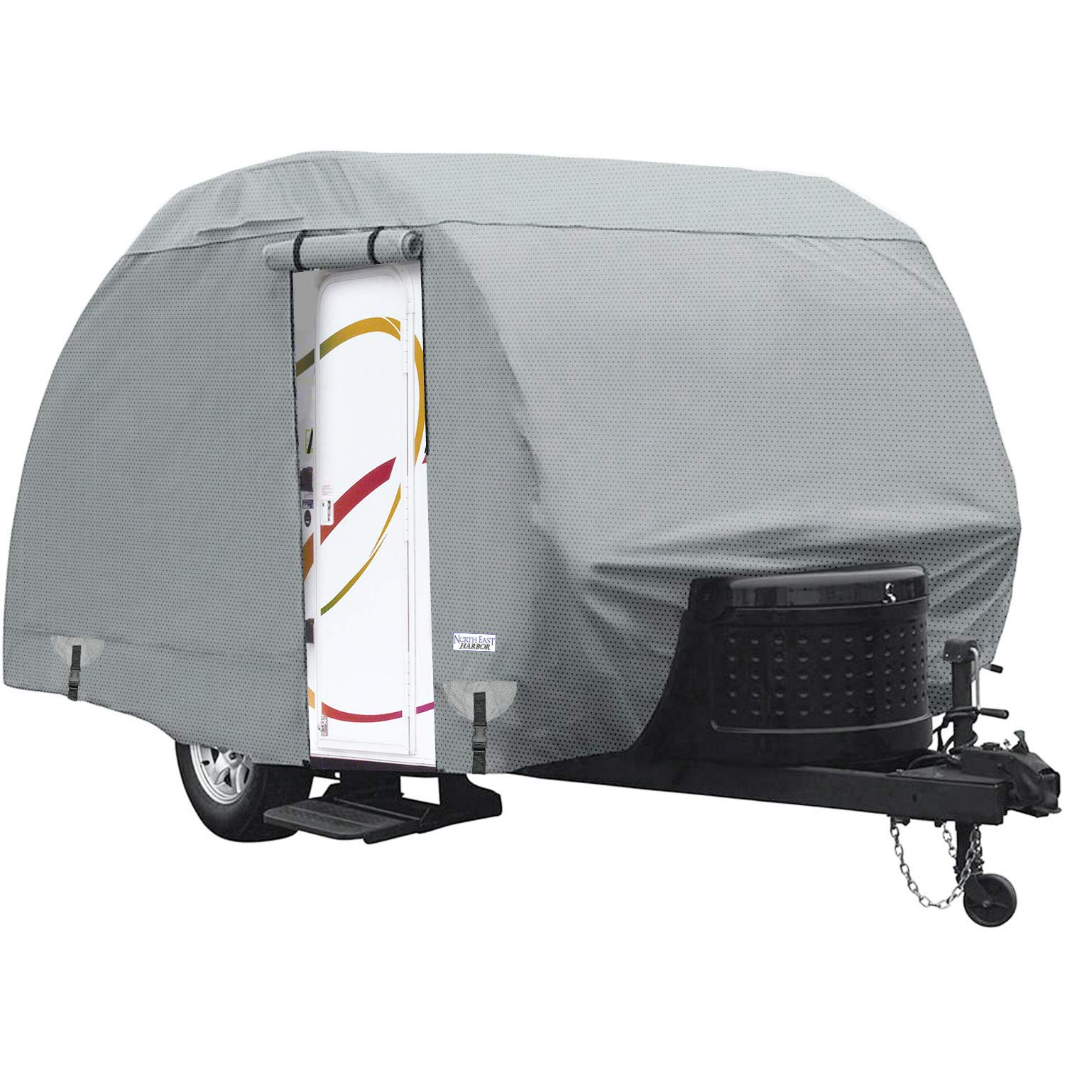 Waterproof Superior Teardrop R-Pod Travel Trailer Storage Cover Fits Up To 20' Long and 6' Wide Trailers - Direct Fitment for Forest River R-Pod Model RP-178, RP-181G, and RP-182G by North East Harbor
