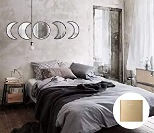 YUBAIHUI Scandinavian Bohemian Home Decor Design Wooden Moon Phase Wall Mirror Acrylic Bedroom Decoration Self Adhesive Ornament Living Room Decor (Black)