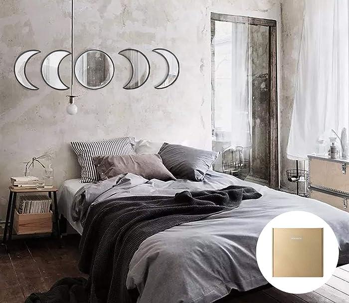 YUBAIHUI Scandinavian Bohemian Home Decor Design Wooden Moon Phase Wall Mirror Acrylic Bedroom Decoration Self Adhesive Ornament Living Room Decor (Black)