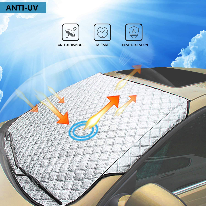 WisFox Pare-Brise Couverture Anti Givre Pare-Brise Avant pour Voiture SUV Anti UV Pluie Givre Glace Neige Imperm/éable Repliable pour Pare-Soleil