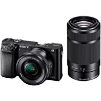 Sony Alpha A6000Y 24.3MP Digital SLR Camera (Black) + 16-50mm Lens + 55-210mm Lens, 16GB Memory Card + Micro HDMI Cable Inside and Camera Bag