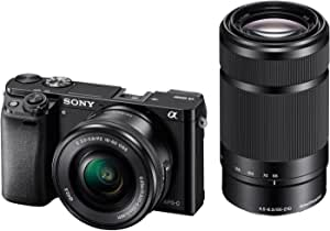 Sony Alpha A6000 With SEL 16-50mm and SEL 55-210mm lens Bundle, Mirrorless Camera, Black, ILCE-6000Y