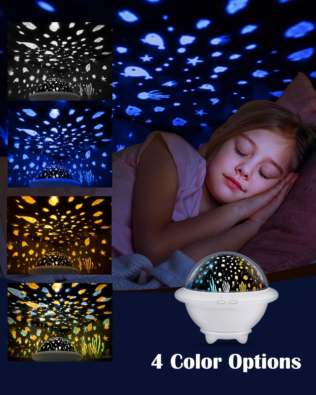 HAMSWAN Proyector de Luz Nocturna, Iluminación Infantil UFO ...