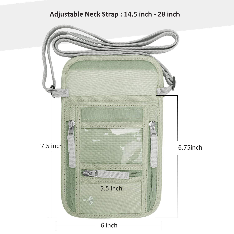Walnew Pochette de Voyage avec Blocage RFID Light Gray Green Taille Unique