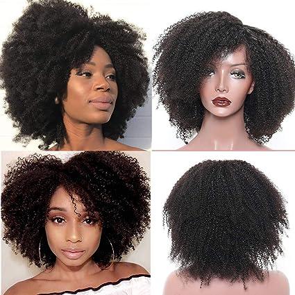 Peluca de cabello humano sin pegamento con encaje frontal de 8 A para mujer, color
