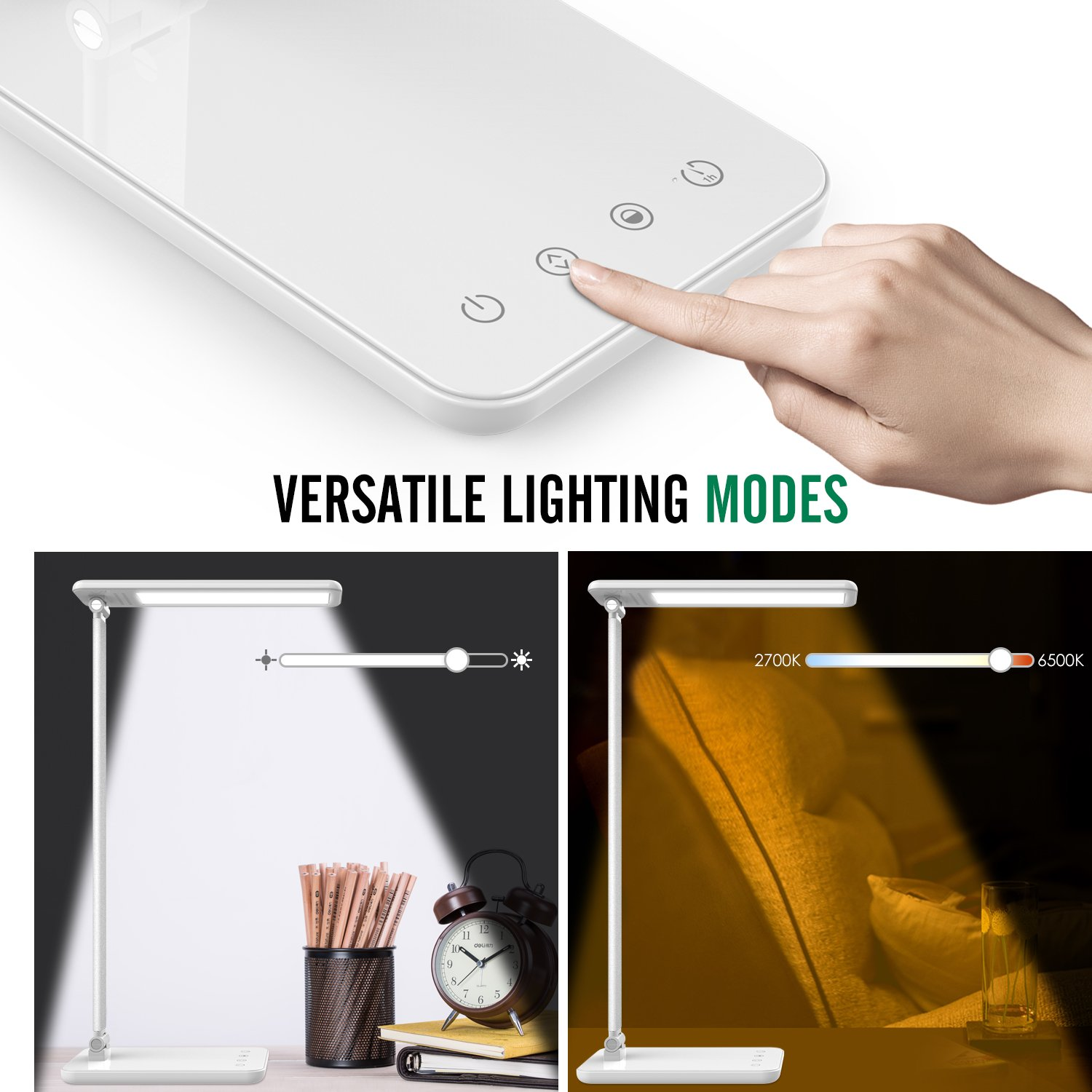 MoKo Dimmable LED Desk Lamp, 8W Touch-Sensitive Control Eye-Caring Working / Reading Table Lamp, Continuously Dimmable Brightness & Color Temperature, 1-Hour Auto Timer, Adjustable Arm & Head - WHITE by MoKo (Image #2)