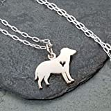 Love My Labrador Retriever with Heart Cutout Charm Necklace - 925 Sterling Silver, 18""