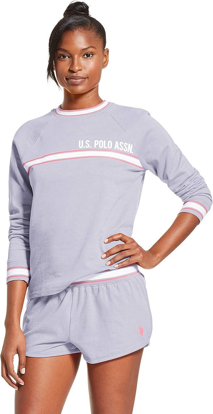U.S. Polo Assn. Womens Cuffed Long Sleeve Shirt and Lounge Pajama ...