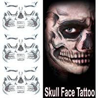 COKOHAPPY Day of the Dead Sugar Skull Black Skeleton Temporary Face Tattoo Kit - Pack of 3 Kits