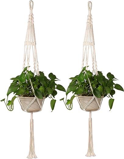 Homeey B075PM6BGR - Juego de 2 colgadores de macramé para macetas de interior y exterior, hecho a mano, cuerda de algodón, para colgar en la pared, decoración del hogar, 89 cm, color blanco