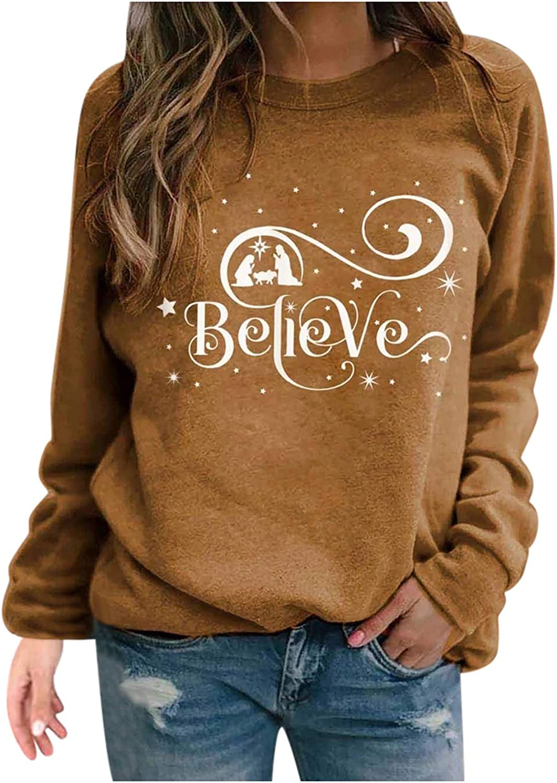 FABIURT Christmas Shirts For Women Womens Fashion Xmas Letter Print Long Sleeve Crewneck Pullover Sweatshirt Tee Tops