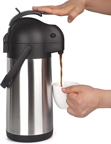 Cresimo 2.2 Liter Airpot Thermal Coffee Carafe with Pump/Lever Action