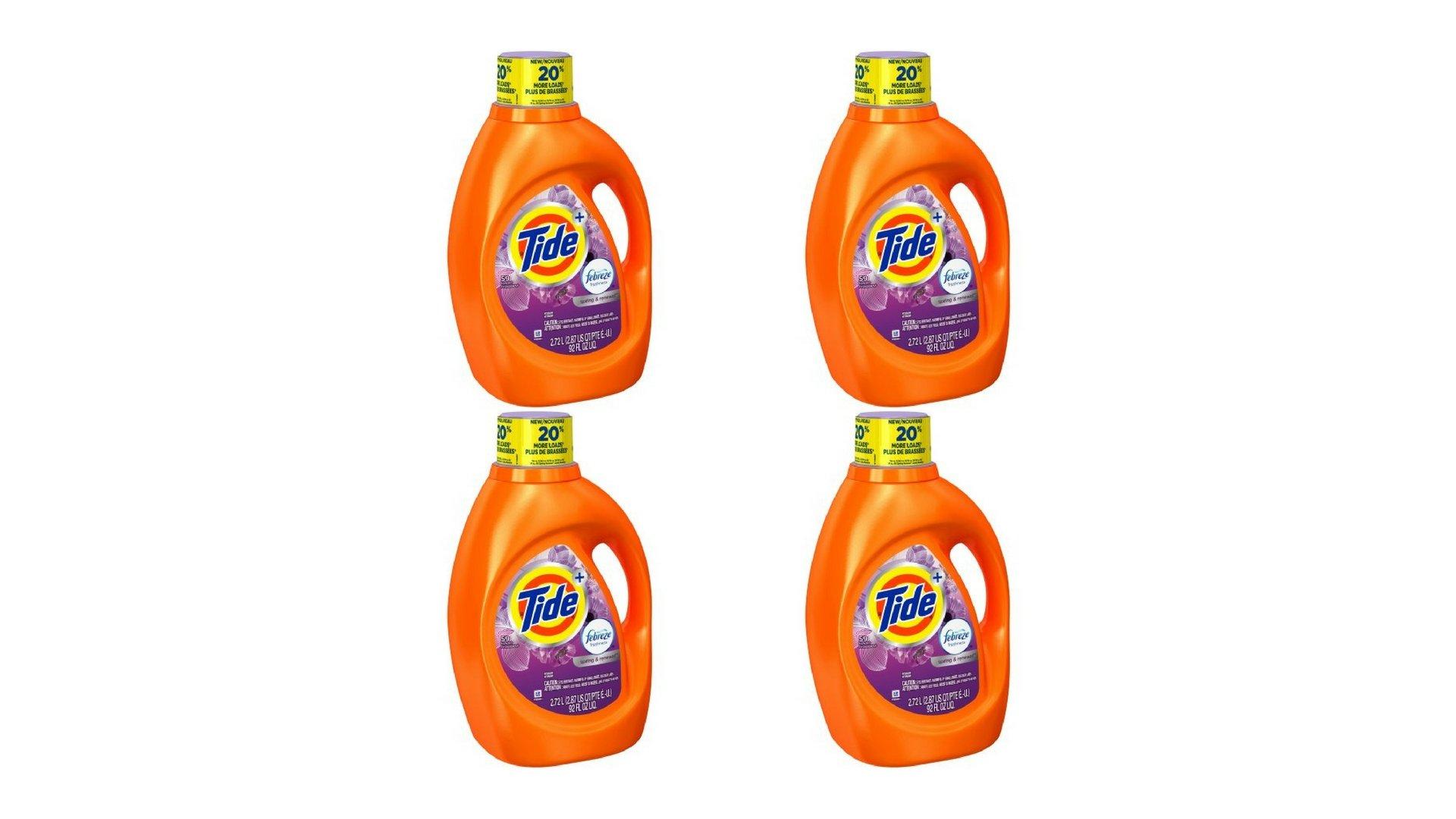 Tide Plus Febreze Freshness Spring and Renewal Scent Liquid Laundry Detergent 92 fl oz per bottle set of 4
