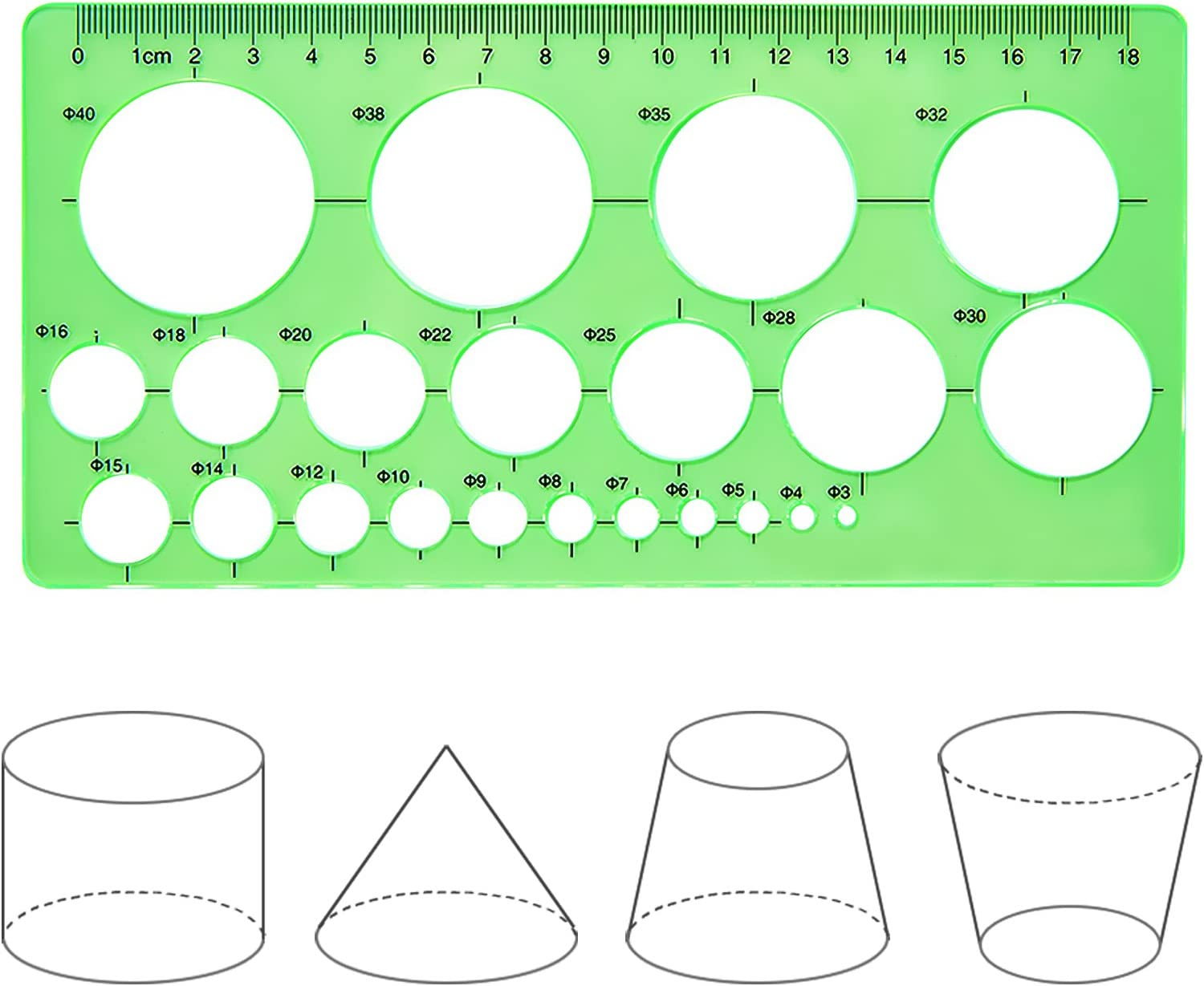Hestya Circle Template 3 Pieces Plastic Circle and Oval Templates Measuring Templates Rulers Digital Drawing for Office and School Building Formwork Drawings Templates (Clear Green) : Office Products