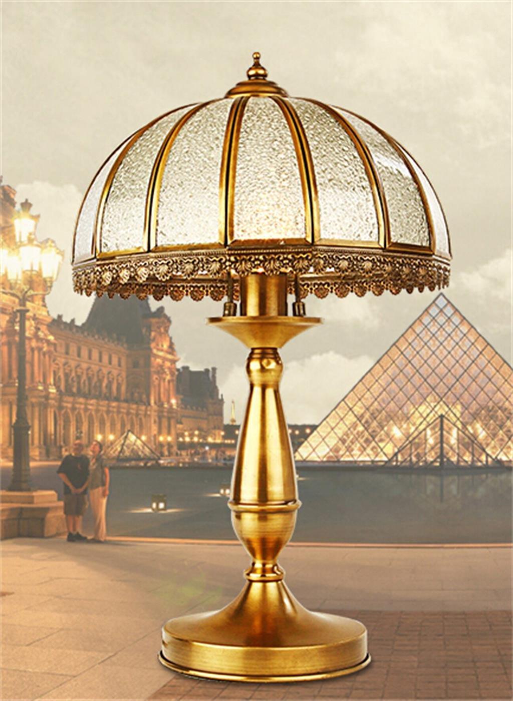 Retro Tischleuchte kontinental warm kreativ Salon Schlafzimmer Kupferlampen einfach Kunst Klassik Dekoration Nachttischlampe