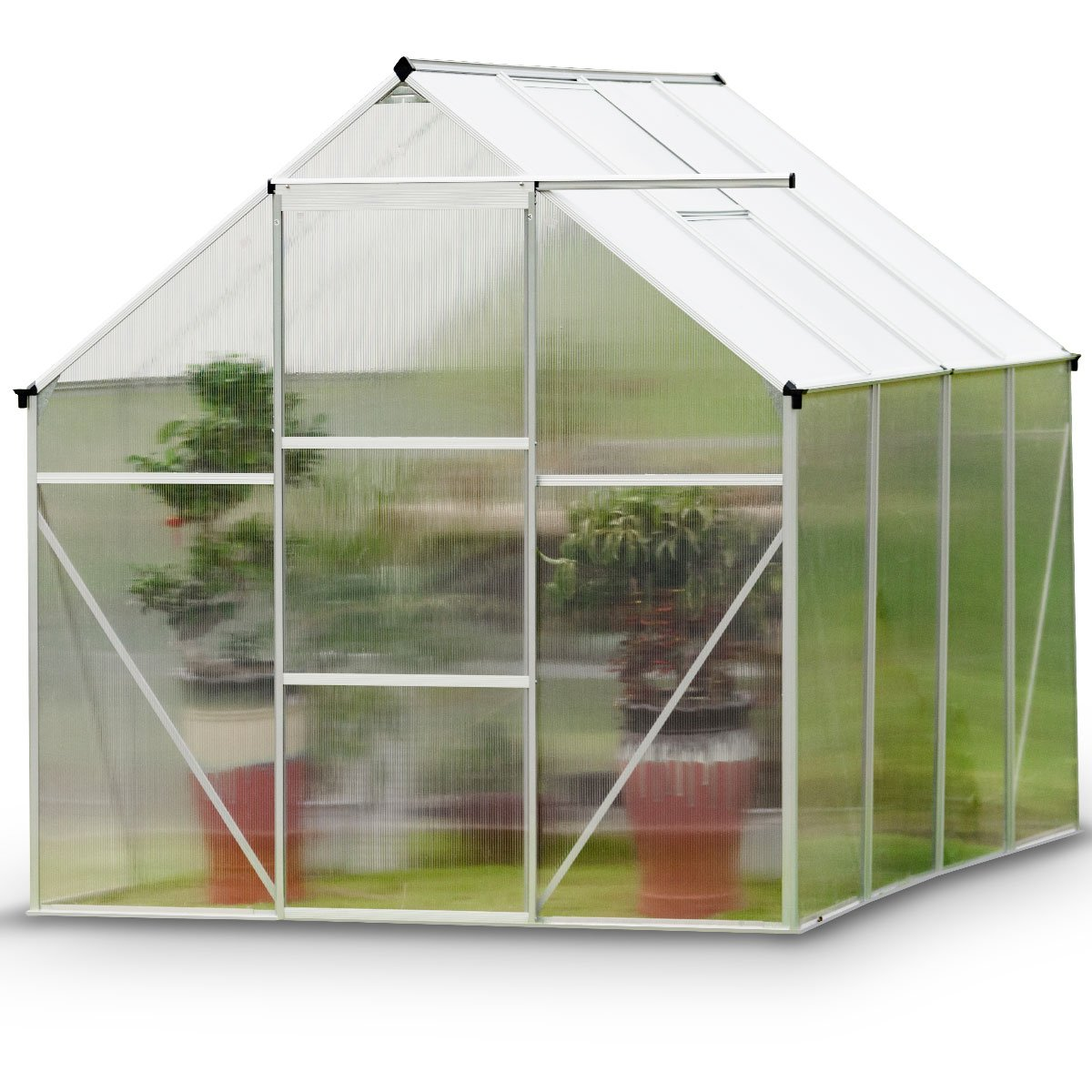 Giantex Walk-in Greenhouse Plant Growing Tent Large Green Garden Hot House with Adjustable Roof Vent, Rain Gutters Heavy Duty Polycarbonate Aluminum Frame (6.2'L x 8.2'D) by Giantex (Image #9)