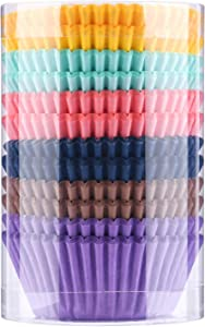 Paper Baking Cups Cupcake Liners 300-Pack, Natural Safe Food Grade Plant Soybean Ink, 2 in Grease-proof Paper Cup for Dinner, Party, Weddings Supplies (6 colours cups for cupcakes)