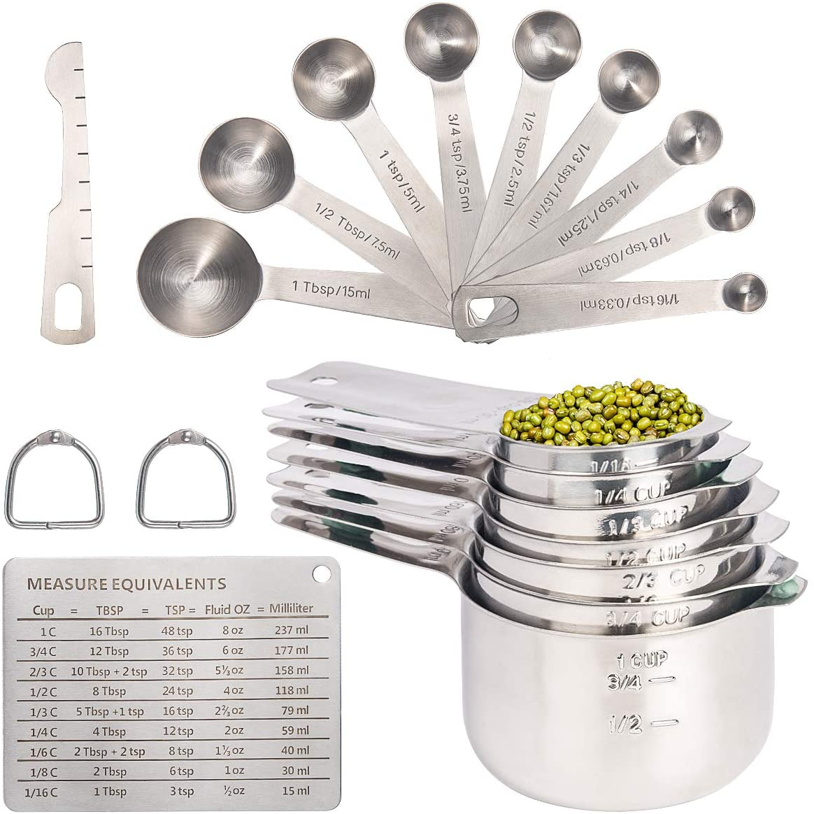 20PCS Measuring Cups and Measuring Spoons Set, Food-Grade Stainless Steel Measure Cup Set for Cooking Baking Measurement, Including 7 Cups, 9 Spoons, Level, Magnetic Chart, Stackable Measuring Set