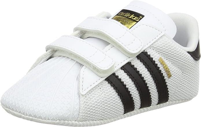 adidas Superstar Sneakers Jungen Mädchen Unisex Baby weiß mit schwarzen Streifen Größe 16 bis 21