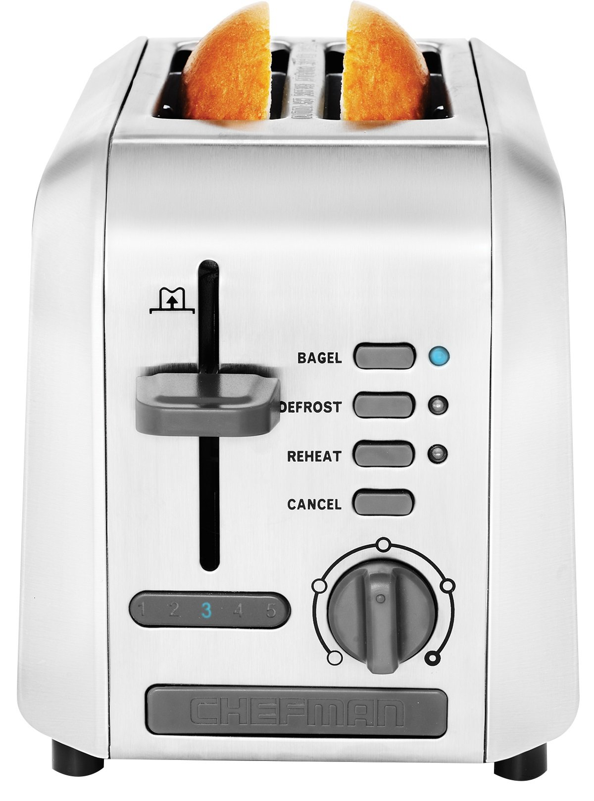 Chefman RJ31-SS 2 Slice Toaster W/Wide Slot, 5 Settings Quickly Toast Bagels, Waffles & Bread, Stainless Steel, Silver